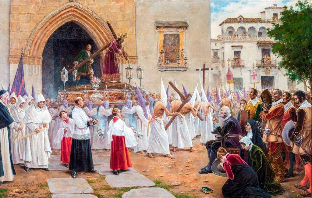 Martínez Montañés viendo la procesión de Jesús de la Pasión de Sevilla (hacia 1890).