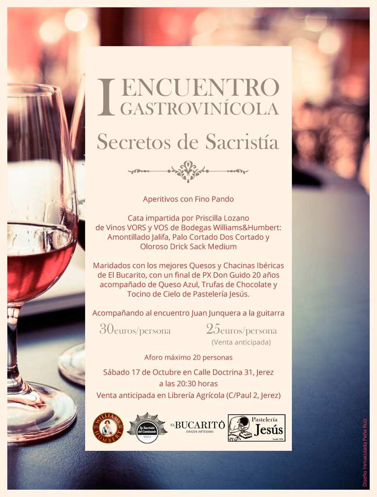 Cartel I Encuentro Gastrovinícola: 'Secretos de Sacristía'