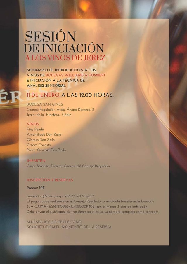 Seminario de Introducción a los Vinos de Bodegas Williams & Humbert e Iniciación a la técnica de análisis sensorial