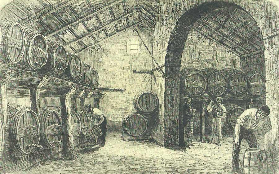 Reproducción de una vista de la Bodega de la Tercia en Montilla, propiedad de los Duques de Medinaceli.